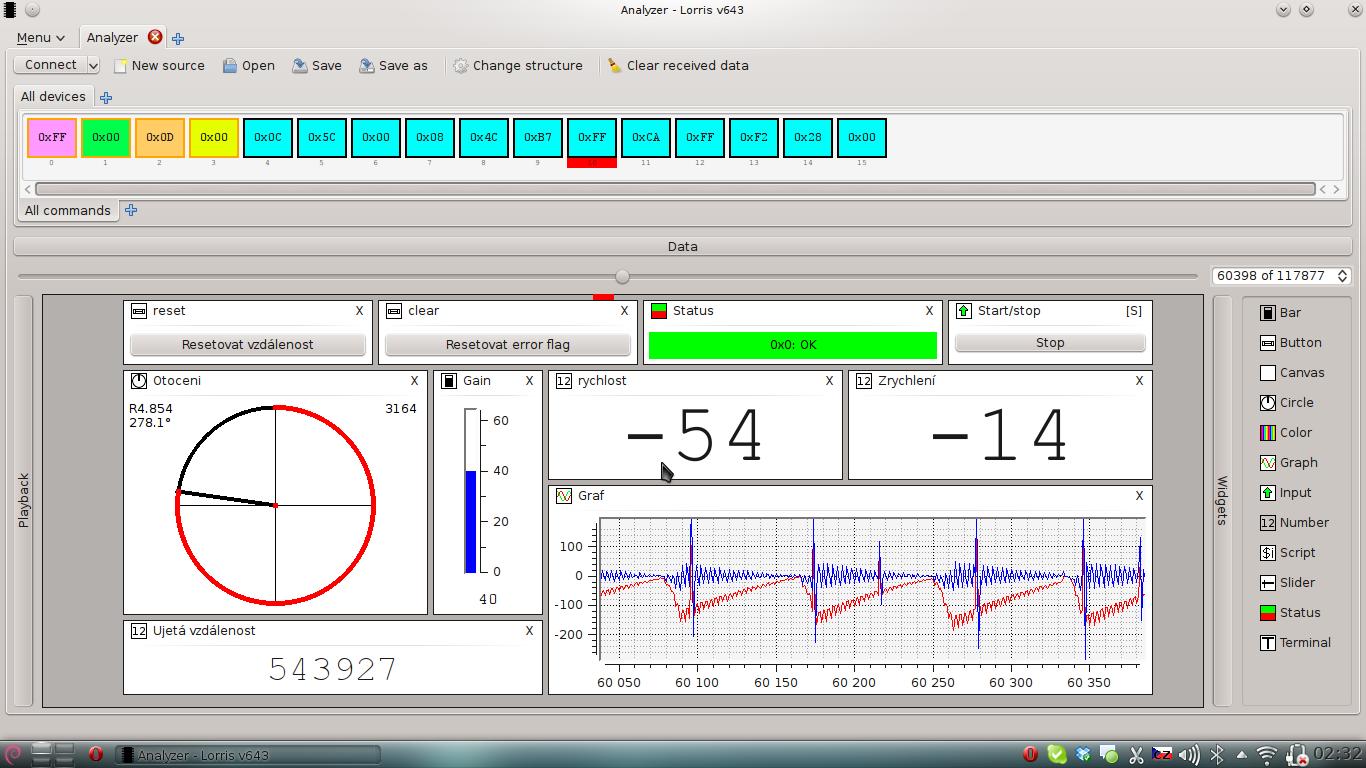 Ukázka modulu Analyzátor v aplikaci Lorris, kterou vytvořil Vojtěch Boček u nás na Robotárně